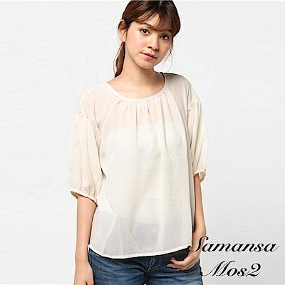Samansa Mos2  透膚雪紡抓皺圓領七分袖上衣