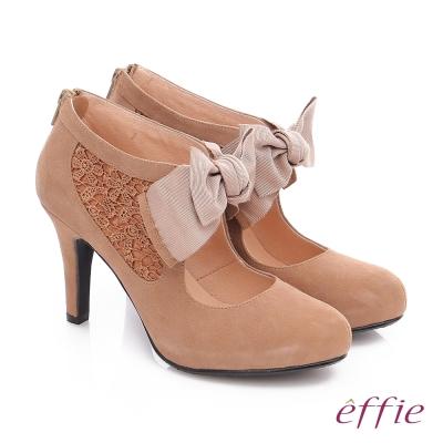 effie 耀眼女伶 絨面羊皮拼接蝴蝶蕾絲高跟鞋 卡其