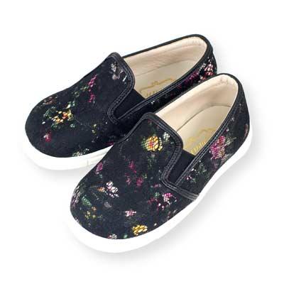 Swan天鵝童鞋-蕾絲花布親子休閒鞋-寶貝款 3806-黑