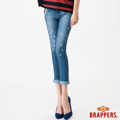 BRAPPERS 女款 BF Ballon系列-女用彈性燈籠八分鑲鑽反摺褲-淺藍