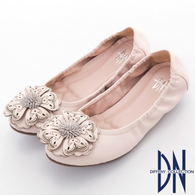 DN 典雅品味 春漾花朵舒適柔軟平底鞋-粉