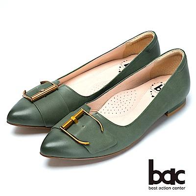 bac經典時尚金屬皮帶裝飾低跟鞋-綠
