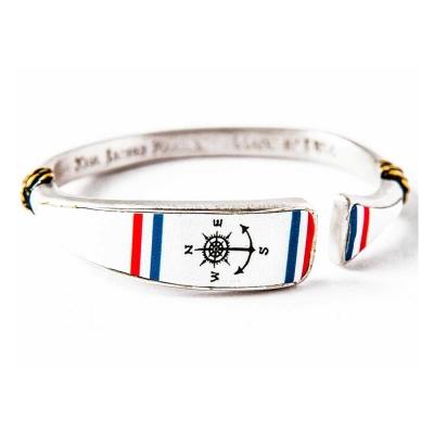 Kiel James Patrick 美國手工船錨 指南針圖騰鑲天然軟木可調節手環