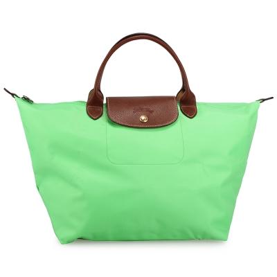Longchamp 折疊中型短把水餃包-蘋果綠