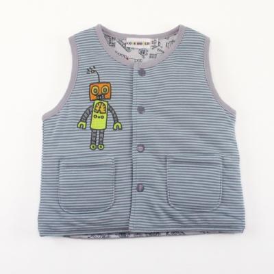 愛的世界 機器人鋪棉兩面穿背心-藍/6個月~3歲