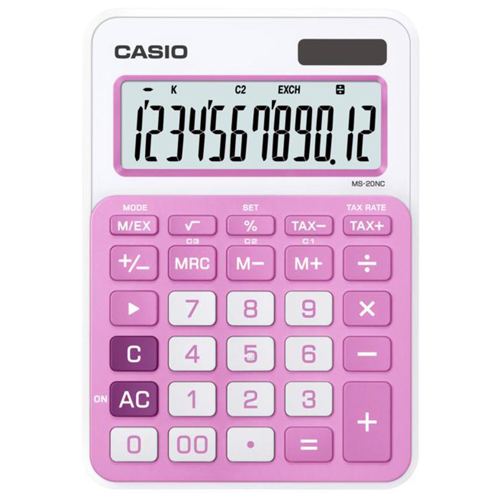 CASIO 12位數時尚多彩桌上型計算機(MS-20NC-RG)橘/白