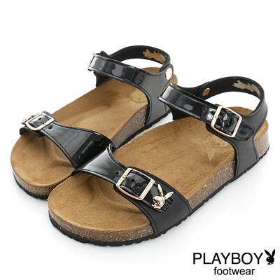 PLAYBOY 隨性美學 漆皮平底休閒涼鞋-黑(女)