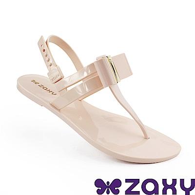 Zaxy 巴西 女 煥彩時光平底T字涼鞋-粉膚色