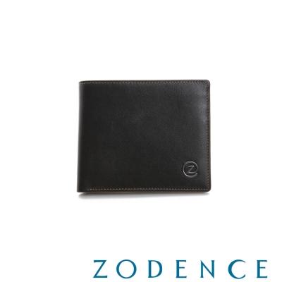 ZODENCE-MAN-優質真皮系列兩折多卡層短夾-咖