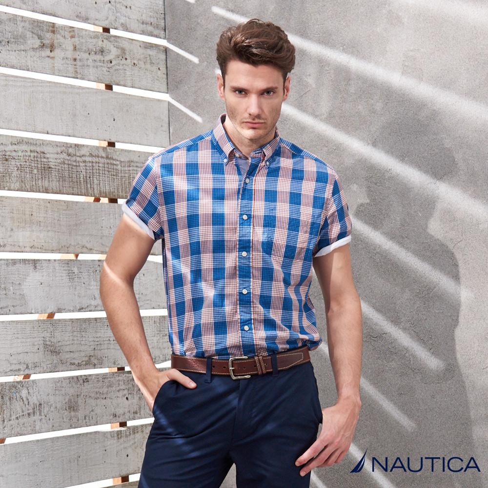 Nautica撞色短袖格紋襯衫-藍粉