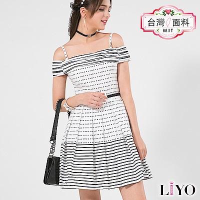 LIYO理優MIT一字領條紋洋裝(白)-動態show