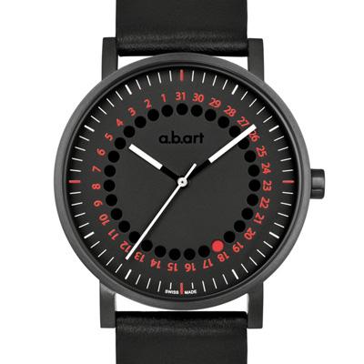a.b.art O系列 經典日期圓盤跳點腕錶-黑x紅/40.5mm