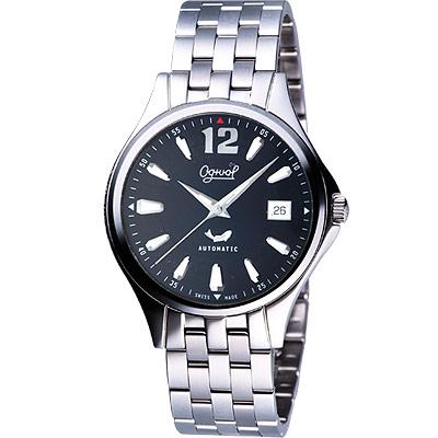Ogival 經典時刻自動上鍊機械腕錶-黑/40mm