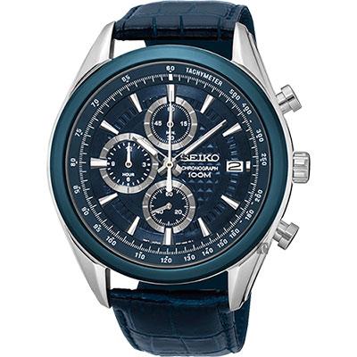 SEIKO精工 競速巔峰時尚計時腕錶(SSB177P2)-藍/45mm