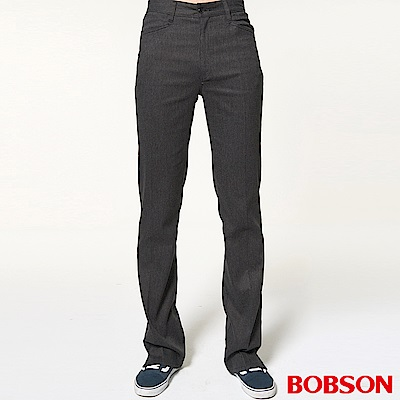 BOBSON 男款素面黑色伸縮喇叭褲