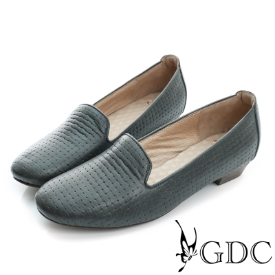 GDC-質感編織紋真皮低跟休閒懶人鞋-槍灰色