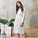 GIORDANO 女裝收腰綁帶棉麻襯衫連身裙-11 白/藍條紋
