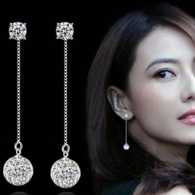 梨花HaNA 925銀修飾臉型水鑽球球水鑽優雅直線耳環