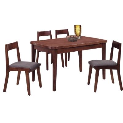 品家居 威森4.3尺實木餐桌椅組合(一桌四椅)-130x80x80cm-免組