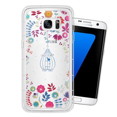 WT Samsung Galaxy S7 edge 奧地利水晶彩繪空壓手機殼(鳥...