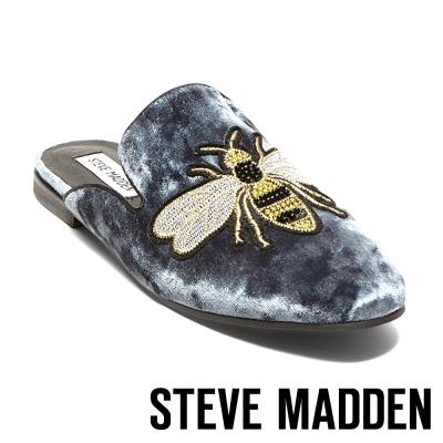 STEVE MADDEN-HUGH-BLUE 絨面刺繡穆勒鞋-藍色