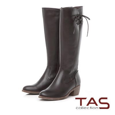 TAS 側邊綁帶金屬飾釦高跟長靴-可可咖