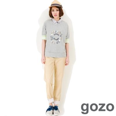 gozo-水彩筆繪感反摺休閒長褲-共三色
