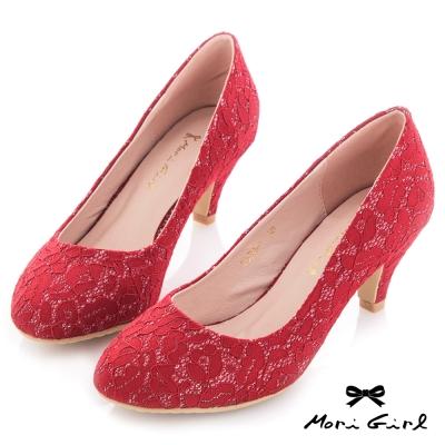 Mori girl 可拆式蝴蝶結蕾絲中跟婚鞋 紅