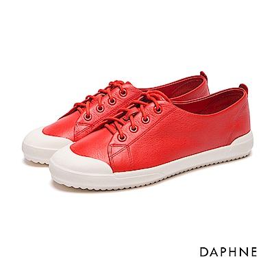 達芙妮DAPHNE 休閒鞋-牛皮繫帶平底休閒鞋-红