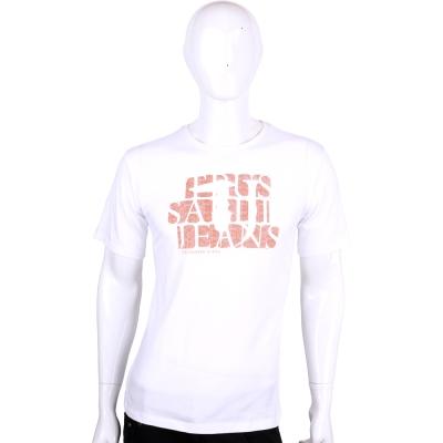 TRUSSARDI-JEANS 白色LOGO圖印棉質短袖T恤