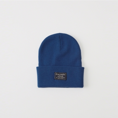 A&F 經典標籤文字保暖毛帽-藍色 AF Abercrombie