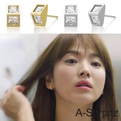 A-Surpriz 太陽的後裔100%925銀立體三角鑲鑽耳環(2色選)