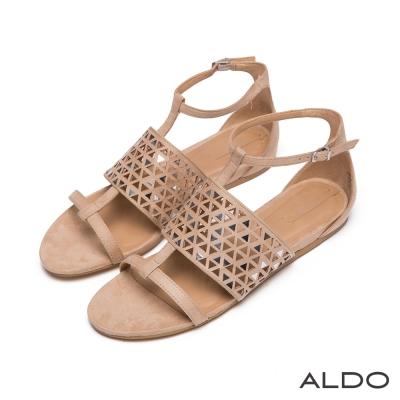 ALDO-幾何寬版三角鏤空亮片T字繫帶涼鞋-氣質裸色