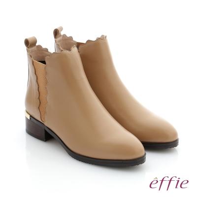 effie 心機美靴 真皮鬆緊帶拼接中筒靴 卡其色
