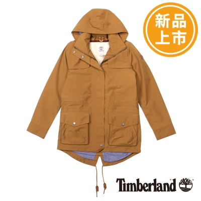 Timberland-女款橘黃色可拆式刷毛連帽外套