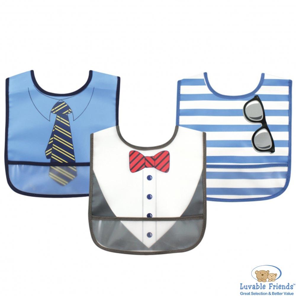 Luvable Friends 藍色紳士款防水圍兜3件組