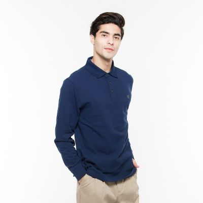 Hang-Ten-男裝-基本款長袖POLO衫-藍