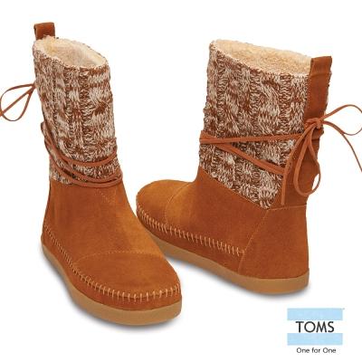 TOMS-針織拼接雪靴-女款-棕
