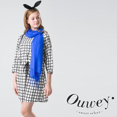 OUWEY歐薇-簡單黑白格紋寬版洋裝-白