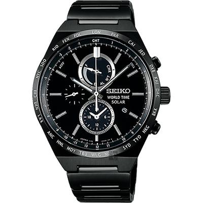 SEIKO精工 SPIRIT 太陽能兩地時間計時腕錶(SBPJ037J)-黑/41mm