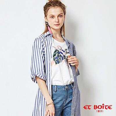 ETBOITE 箱子 BLUE WAY 寬袖開衩收腰長版罩衫-淺藍條紋