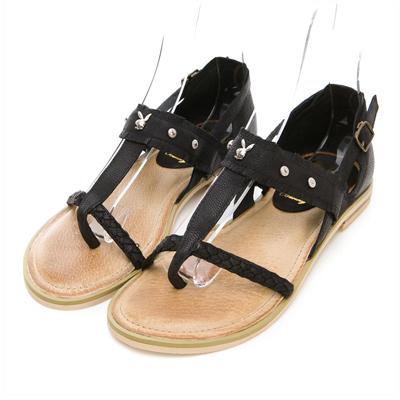 PLAYBOY異國戀曲 鉚釘裝飾T字夾腳涼鞋-黑