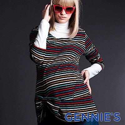 Gennies-010系列-彩色條紋蝴蝶結孕婦上衣(T3220)