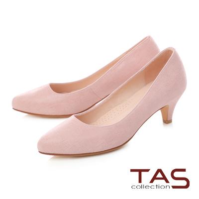 TAS素面壓紋羊絨皮高跟鞋-淡雅粉