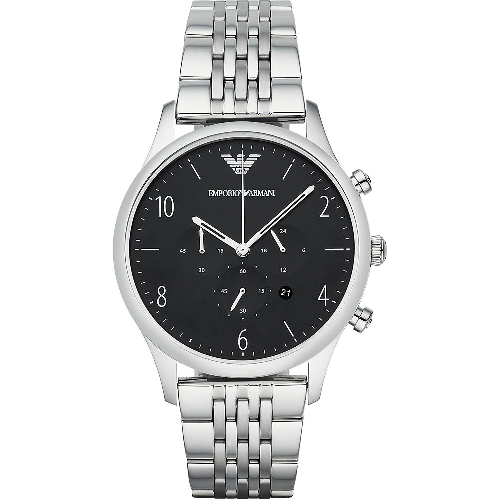 Emporio Armani Classic 紳士復刻經典計時腕錶-黑/43mm