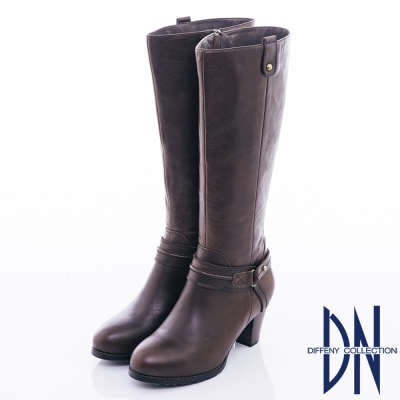 DN 俐落時尚 質感素面牛皮顯瘦長靴-咖