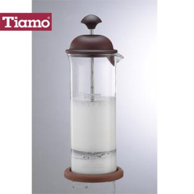 Tiamo 玻璃奶泡杯400ml咖啡色(HG5265)