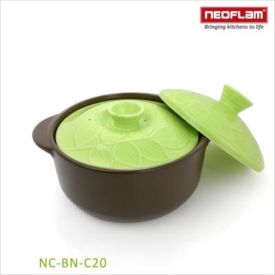 韓國NEOFLAM BAUM系列 20cm陶瓷不沾時尚浮雕陶鍋