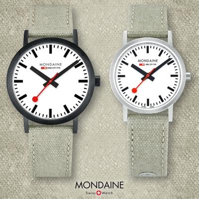 MONDAINE 瑞士國鐵Classic 真我限量對錶-白x灰綠錶帶/30+40mm