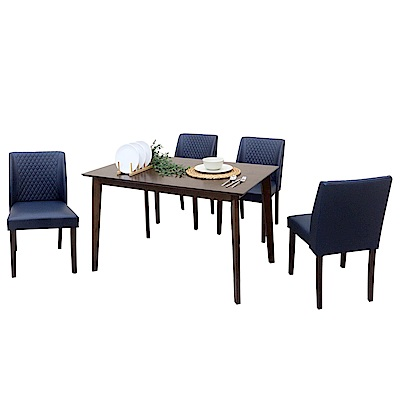 AT HOME-日系簡約4尺胡桃桌椅組-一桌四椅(120*75*75cm)